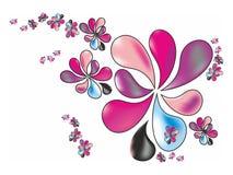 Τυποποιημένα λουλούδια άνοιξη στα χρώματα κρητιδογραφιών σε ένα άσπρο υπόβαθρο Στοκ εικόνες με δικαίωμα ελεύθερης χρήσης