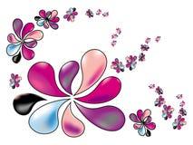 Τυποποιημένα λουλούδια άνοιξη στα χρώματα κρητιδογραφιών σε ένα άσπρο υπόβαθρο Στοκ εικόνα με δικαίωμα ελεύθερης χρήσης