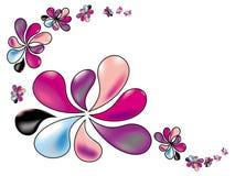 Τυποποιημένα λουλούδια άνοιξη στα χρώματα κρητιδογραφιών σε ένα άσπρο υπόβαθρο Στοκ Φωτογραφία