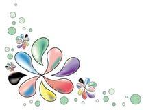 Τυποποιημένα λουλούδια άνοιξη στα χρώματα κρητιδογραφιών σε ένα άσπρο υπόβαθρο Στοκ φωτογραφία με δικαίωμα ελεύθερης χρήσης