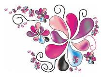 Τυποποιημένα λουλούδια άνοιξη στα χρώματα κρητιδογραφιών Στοκ Εικόνες