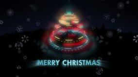 Τυποποιημένα παράξενα χριστουγεννιάτικα δέντρα, ζωντανεψοντα σημάδι εύθυμο Christmass, μειωμένα snowflakes φιλμ μικρού μήκους