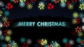 Τυποποιημένα πολύχρωμα snowflakes στο μαύρο υπόβαθρο Ζωντανεψοντα σημάδι εύθυμο Christmass φιλμ μικρού μήκους