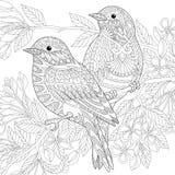 Τυποποιημένα πουλιά Zentangle απεικόνιση αποθεμάτων
