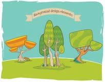 Τυποποιημένα στοιχεία σχεδίου υποβάθρου: δέντρα Στοκ Εικόνα