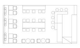 Τυποποιημένα σύμβολα επίπλων καφέδων στα σχέδια ορόφων Στοκ Εικόνα