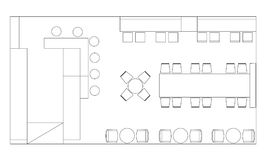Τυποποιημένα σύμβολα επίπλων καφέδων στα σχέδια ορόφων Στοκ Φωτογραφίες