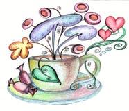 Τυποποιημένες πιατάκι και σοκολάτες φλυτζανιών από τα οποία τα παράξενα λουλούδια αυξάνονται απεικόνιση αποθεμάτων