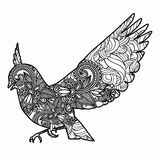 Τυποποιημένη απεικόνιση πουλιών Zentangle Συρμένη χέρι doodle απεικόνιση που απομονώνεται στο άσπρο υπόβαθρο Στοκ Φωτογραφίες