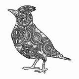 Τυποποιημένη απεικόνιση πουλιών Zentangle Συρμένη χέρι doodle απεικόνιση που απομονώνεται στο άσπρο υπόβαθρο Στοκ φωτογραφίες με δικαίωμα ελεύθερης χρήσης