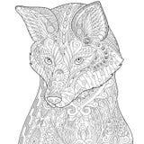 Τυποποιημένη αλεπού Zentangle διανυσματική απεικόνιση