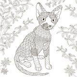 Τυποποιημένη γάτα του Ντέβον Zentangle rex για το χρωματισμό της σελίδας Στοκ φωτογραφίες με δικαίωμα ελεύθερης χρήσης