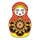 Τυποποιημένη κομψή ρωσική κούκλα Zentangle, κούκλα Matryoshka απεικόνιση αποθεμάτων