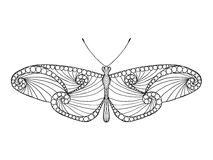 Τυποποιημένη πεταλούδα Zentangle Στοκ εικόνα με δικαίωμα ελεύθερης χρήσης