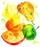 Τυποποιημένη συρμένη χέρι απεικόνιση watercolor με την επιβολή του τυριού, των μήλων, των λεμονιών και των αχλαδιών Στοκ εικόνα με δικαίωμα ελεύθερης χρήσης