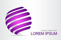 Τυποποιημένη σφαιρική επιφάνεια λογότυπων με τις αφηρημένες μορφές Στοκ Εικόνα