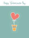 Τυποποιημένη χαριτωμένη καρδιά στο δοχείο Ύφος κινούμενων σχεδίων Ευχετήριες κάρτες για την ημέρα βαλεντίνων Στοκ Εικόνες