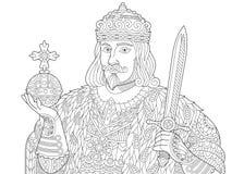 Τυποποιημένος βασιλιάς Zentangle απεικόνιση αποθεμάτων