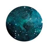 Τυποποιημένος γαλαξίας ή νυχτερινός ουρανός grunge με τα αστέρια Διαστημικό υπόβαθρο Watercolor Απεικόνιση κόσμου στον κύκλο ελεύθερη απεικόνιση δικαιώματος