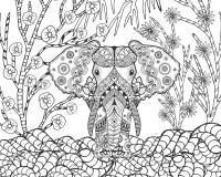 Τυποποιημένος ελέφαντας Zentangle στον κήπο φαντασίας απεικόνιση αποθεμάτων