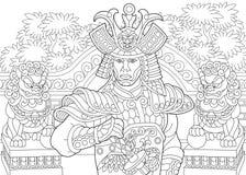 Τυποποιημένος ιαπωνικός Σαμουράι Zentangle διανυσματική απεικόνιση