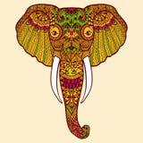 Τυποποιημένος ινδικός ελέφαντας Zentangle Συρμένη χέρι δαντέλλα ελεύθερη απεικόνιση δικαιώματος