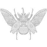 Τυποποιημένος κάνθαρος ρινοκέρων Zentangle διανυσματική απεικόνιση
