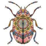 Τυποποιημένος κάνθαρος Zentangle Συρμένη χέρι διακοσμητική διανυσματική απεικόνιση ελεύθερη απεικόνιση δικαιώματος