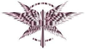 Τυποποιημένος καλλιτεχνικός σταυρός με τα φτερά και καρδιά που απομονώνεται ελεύθερη απεικόνιση δικαιώματος