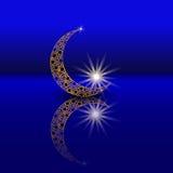 Τυποποιημένος μήνας με το αστέρι και τις αντανακλάσεις τους Διακόσμηση στο ανατολικό ύφος σύμβολο απεικόνιση Στοκ Φωτογραφίες