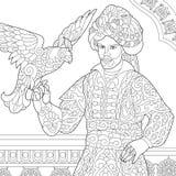 Τυποποιημένος οθωμανικός σουλτάνος Zentangle με το γεράκι ελεύθερη απεικόνιση δικαιώματος