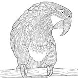 Τυποποιημένος παπαγάλος Zentangle - macaw ελεύθερη απεικόνιση δικαιώματος
