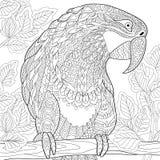Τυποποιημένος παπαγάλος Zentangle - macaw διανυσματική απεικόνιση