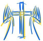Τυποποιημένος σταυρός με τα χέρια απεικόνιση αποθεμάτων
