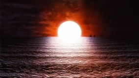 Τυποποιημένος στοχαστικός τηλεοπτικός βρόχος υποβάθρου του //1080p ηλιοβασιλέματος θάλασσας απεικόνιση αποθεμάτων