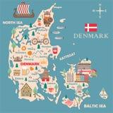 Τυποποιημένος χάρτης της Δανίας ελεύθερη απεικόνιση δικαιώματος