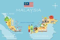 Τυποποιημένος χάρτης της Μαλαισίας Απεικόνιση ταξιδιού με το μαλαισιανό τοπικό LAN διανυσματική απεικόνιση