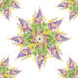 Τυποποιημένο άνευ ραφής floral σχέδιο αστεριών Στοκ εικόνα με δικαίωμα ελεύθερης χρήσης