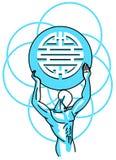 Τυποποιημένο άτομο με το σύμβολο της διπλής ευτυχίας Στοκ Φωτογραφία