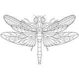 Τυποποιημένο έντομο λιβελλουλών Zentangle διανυσματική απεικόνιση