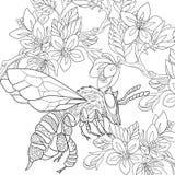 Τυποποιημένο έντομο μελισσών Zentangle διανυσματική απεικόνιση