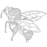 Τυποποιημένο έντομο μελισσών Zentangle ελεύθερη απεικόνιση δικαιώματος