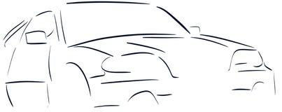 Τυποποιημένο αυτοκίνητο σε μπλε και ο Μαύρος που απομονώνεται Στοκ εικόνα με δικαίωμα ελεύθερης χρήσης