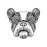 Τυποποιημένο γαλλικό πρόσωπο μπουλντόγκ Zentangle Συρμένο χέρι σκυλί doodle VE απεικόνιση αποθεμάτων