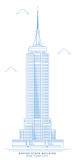 Τυποποιημένο, ελεύθερο σχέδιο Εmpire State Building Ουρανοξύστης πόλεων της Νέας Υόρκης Στοκ Εικόνες