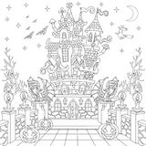 Τυποποιημένο κάστρο αποκριών Zentangle διανυσματική απεικόνιση