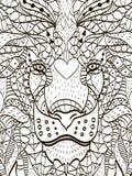 Τυποποιημένο κεφάλι κινούμενων σχεδίων Zentangle ενός λιονταριού απεικόνιση αποθεμάτων