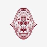 Τυποποιημένο κεφάλι πιθήκων Zentangle Στοκ Φωτογραφίες