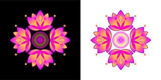 Τυποποιημένο λουλούδι λωτού Φέρτε την καλή τύχη διανυσματική απεικόνιση
