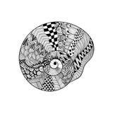 Τυποποιημένο μαύρο θαλασσινό κοχύλι Zentangle Συρμένο χέρι διανυσματικό illustratio Στοκ εικόνες με δικαίωμα ελεύθερης χρήσης